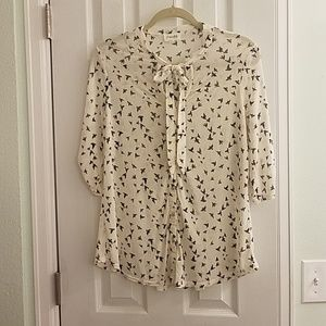 Tops - Blouse with bird print